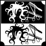 Insignia para el registro de la peluquería Fotografía de archivo libre de regalías