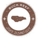 Insignia patriótica circular de Buck Island Reef stock de ilustración