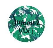 Insignia redonda de las letras tropicales Imagen de archivo libre de regalías