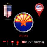 Insignia redonda del vector de Chrome con la bandera del estado de Arizona los E.E.U.U. Bandera del banderín de los E.E.U.U. Indi stock de ilustración