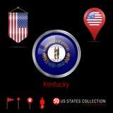 Insignia redonda del vector de Chrome con la bandera del estado de Kentucky los E.E.U.U. Bandera del banderín de los E.E.U.U. Ind libre illustration