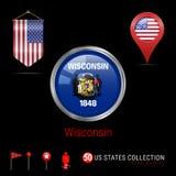 Insignia redonda del vector de Chrome con la bandera del estado de Wisconsin los E.E.U.U. Bandera del banderín de los E.E.U.U. In stock de ilustración