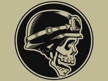 Insignia retra del motorista del cráneo de la moto stock de ilustración