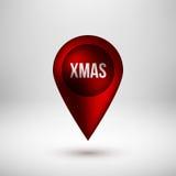 Insignia roja del indicador del mapa de la burbuja Imagen de archivo libre de regalías