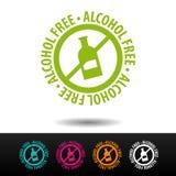 Insignia sin alcohol, logotipo, icono Ejemplo plano en el fondo blanco Puede ser la empresa de negocios usada Fotografía de archivo libre de regalías