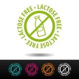 Insignia sin lactosa, logotipo, icono Ejemplo plano del vector en el fondo blanco Foto de archivo