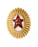 Insignia on soviet officer cap Stock Image