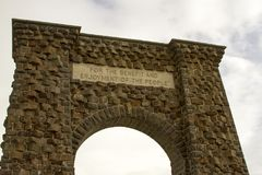 Insignia over  Roosevelt Gate, Yellowstone National Park Royalty Free Stock Photo