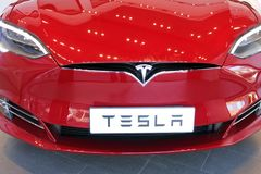 The front hood of the plug-in electric car Model S Royalty Free Stock Images