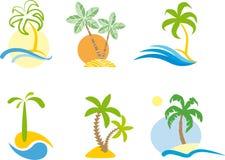 Insignia tropical (gráfico de la escena de la playa.) Imágenes de archivo libres de regalías