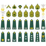 Insignia of the U.S. Army. Epaulets, military ranks and insignia. Illustration on white background Royalty Free Stock Photos