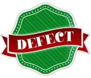 Insignia verde con el texto del DEFECTO en cinta roja stock de ilustración
