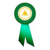 Insignia verde con las cintas verdes Imágenes de archivo libres de regalías