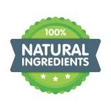Insignia verde moderna del eco etiqueta natural de 100 ingredientes del por ciento Ejemplo de la etiqueta engomada Imágenes de archivo libres de regalías