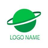 Insignia verde Un nombre de la compañía en un fondo blanco Fotografía de archivo libre de regalías