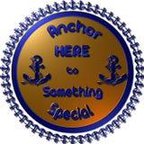Insignia y etiqueta de oro del ancla del vintage 3D Imagen de archivo