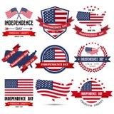 Insignia y etiqueta del Día de la Independencia Fotografía de archivo libre de regalías