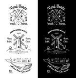 Ультрамодные ретро винтажные Insignias - вектор значков установил с мельницей Стоковое Фото