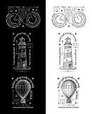 Ультрамодные ретро винтажные Insignias - вектор значков установил с маяком Стоковая Фотография RF