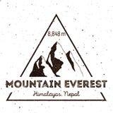 Insignias al aire libre de la aventura de Everest de la montaña stock de ilustración