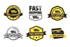 Insignias amarillas del envío gratis Imágenes de archivo libres de regalías