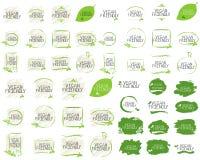 Insignias amistosas del etiqueta de la colección del vegano y de alta calidad del producto El bio hogar hizo comida el producto o libre illustration