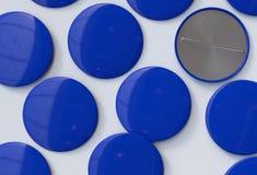 Insignias azules en blanco Imagen de archivo