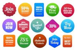 15 insignias coloridas del comercio electrónico Fotografía de archivo libre de regalías