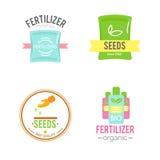 Insignias con los ejemplos de los fertilizantes Foto de archivo