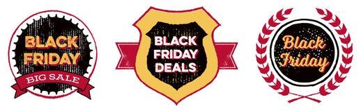 Insignias de Black Friday Foto de archivo libre de regalías