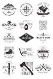 15 insignias de la actividad de la aventura Fotos de archivo libres de regalías