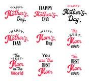 Insignias de la caligrafía de las letras de día de madres fijadas Imágenes de archivo libres de regalías