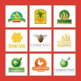 Insignias de la compañía con el alimento Imágenes de archivo libres de regalías