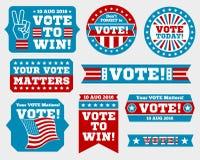 Insignias de la elección presidencial 2016 y etiquetas americanas del voto Foto de archivo libre de regalías