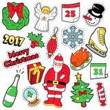 Insignias de la Feliz Navidad, remiendos, etiquetas engomadas Fotografía de archivo