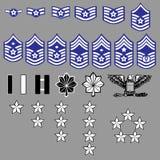 Insignias de la fila de la fuerza aérea de los E.E.U.U. Imagen de archivo libre de regalías