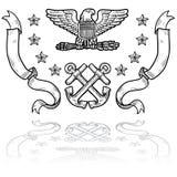 Insignias de la marina de los E.E.U.U. con las cintas stock de ilustración