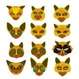 Insignias de la trayectoria con la cabeza de los gatos Imagen de archivo libre de regalías