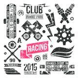 Insignias de las carreras de coches en estilo retro Foto de archivo