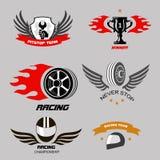 Insignias de las carreras de coches y servicio de la motocicleta, Imagen de archivo
