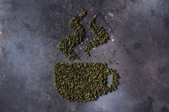 Insignias de las hojas de té, poniendo letras Fotos de archivo libres de regalías