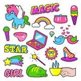 Insignias de las muchachas de la moda, remiendos, etiquetas engomadas - arco iris Foto de archivo libre de regalías
