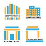 Insignias de las propiedades inmobiliarias - azul y naranja ilustración del vector