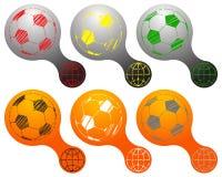 Insignias de los balones de fútbol fijadas Fotos de archivo