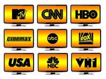 Insignias de los canales de televisión Fotos de archivo libres de regalías