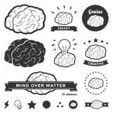 Insignias del cerebro y colección de la escritura de la etiqueta Foto de archivo