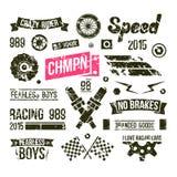 Insignias del club de las carreras de coches en estilo retro Foto de archivo