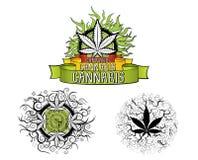 Insignias del diseño de la marijuana y de la hoja del ganja  Fotos de archivo