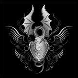 Insignias del dragón del rugido de Fanyasy stock de ilustración