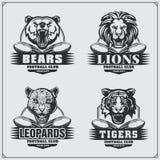 Insignias del fútbol, etiquetas y elementos del diseño Emblemas del club de deporte con el oso, el león, el tigre y el leopardo ilustración del vector